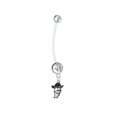 New Mexico State Aggies Pregnancy Maternity Clear Belly Button Navel Ring - Pick Your Color