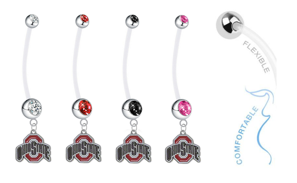 Ohio State Buckeyes Pregnancy Maternity Belly Button Navel Ring - Pick Your Color