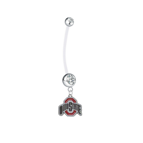 Ohio State Buckeyes Pregnancy Clear Maternity Belly Button Navel Ring - Pick Your Color