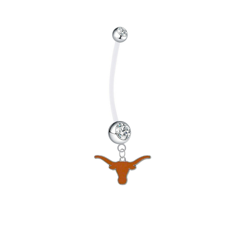 Texas Longhorns Pregnancy Maternity Clear Belly Button Navel Ring - Pick Your Color