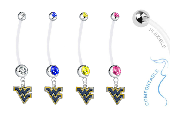 West Virginia Mountaineers Pregnancy Maternity Belly Button Navel Ring - Pick Your Color