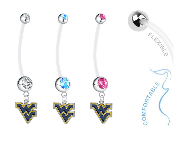 West Virginia Mountaineers Boy/Girl Pregnancy Maternity Belly Button Navel Ring