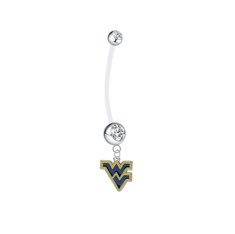 West Virginia Mountaineers Pregnancy Maternity Clear Belly Button Navel Ring - Pick Your Color