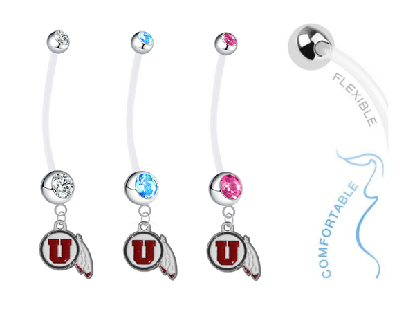 Utah Utes Boy/Girl Pregnancy Maternity Belly Button Navel Ring