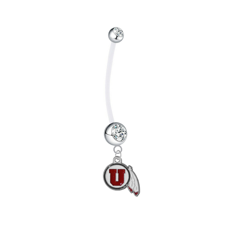 Utah Utes Pregnancy Maternity Clear Belly Button Navel Ring - Pick Your Color