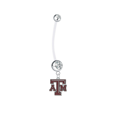 Texas A&M Aggies Pregnancy Maternity Clear Belly Button Navel Ring - Pick Your Color