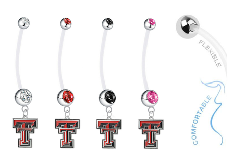 Texas Tech Red Raiders Pregnancy Maternity Belly Button Navel Ring - Pick Your Color