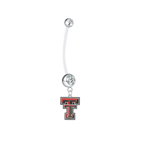 Texas Tech Red Raiders Boy/Girl Clear Pregnancy Maternity Belly Button Navel Ring