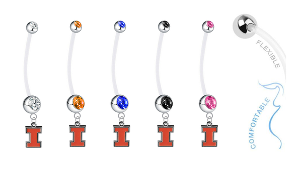 Illinois Fighting Illini Pregnancy Maternity Belly Button Navel Ring - Pick Your Color