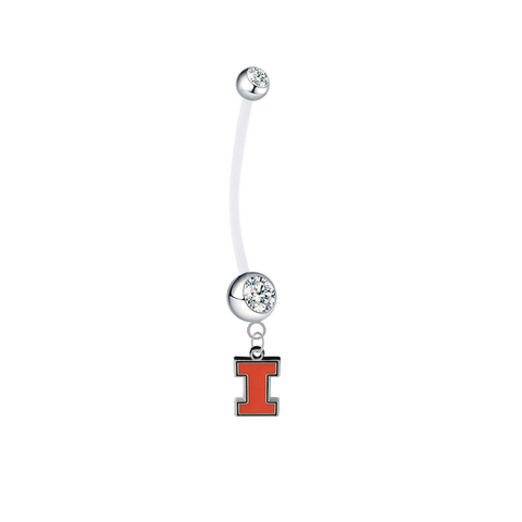 Illinois Fighting Illini Pregnancy Clear Maternity Belly Button Navel Ring - Pick Your Color