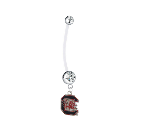 South Carolina Gamecocks Pregnancy Maternity Clear Belly Button Navel Ring - Pick Your Color