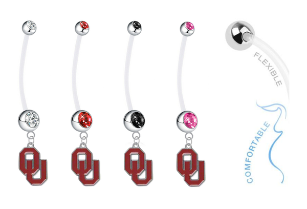 Oklahoma Sooners Pregnancy Maternity Belly Button Navel Ring - Pick Your Color