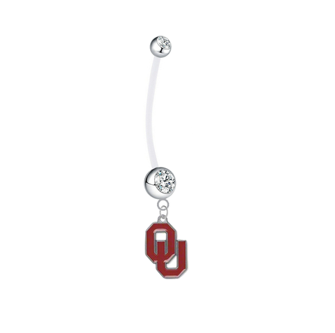 Oklahoma Sooners Pregnancy Maternity CLear Belly Button Navel Ring - Pick Your Color