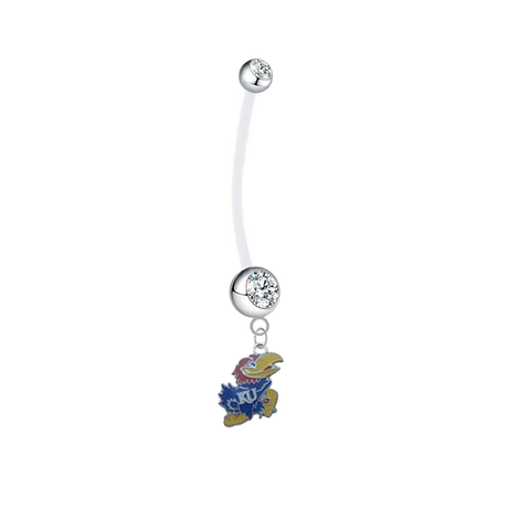 Kansas Jayhawks Pregnancy Maternity Clear Belly Button Navel Ring - Pick Your Color
