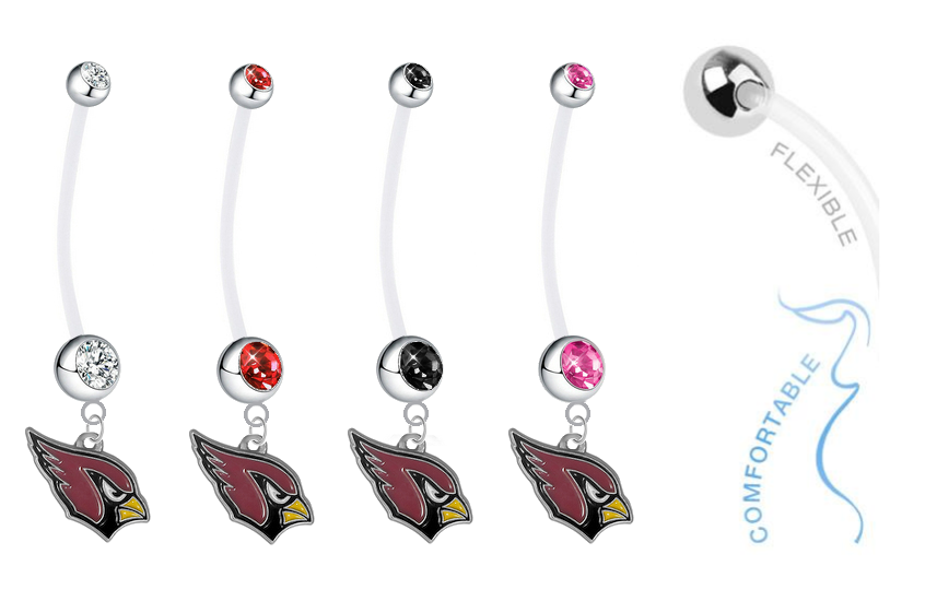 Arizona Cardinals Pregnancy Maternity Belly Button Navel Ring - Pick Your Color