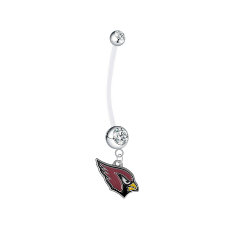 Arizona Cardinals Pregnancy Maternity Clear Belly Button Navel Ring - Pick Your Color