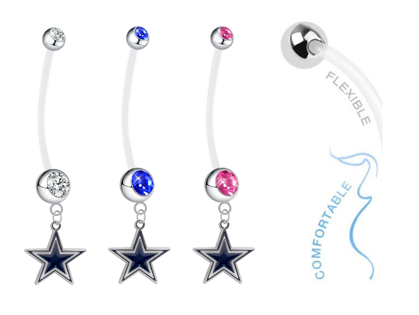 Dallas Cowboys Pregnancy Maternity Belly Button Navel Ring - Pick Your Color