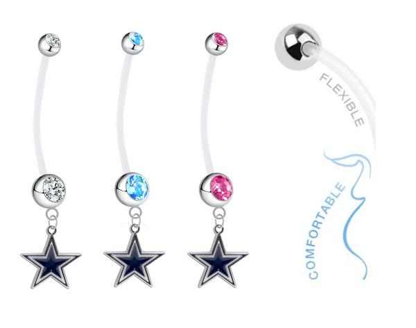 Dallas Cowboys Boy/Girl Pregnancy Maternity Belly Button Navel Ring