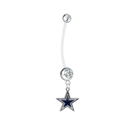 Dallas Cowboys Pregnancy Maternity Clear Belly Button Navel Ring - Pick Your Color
