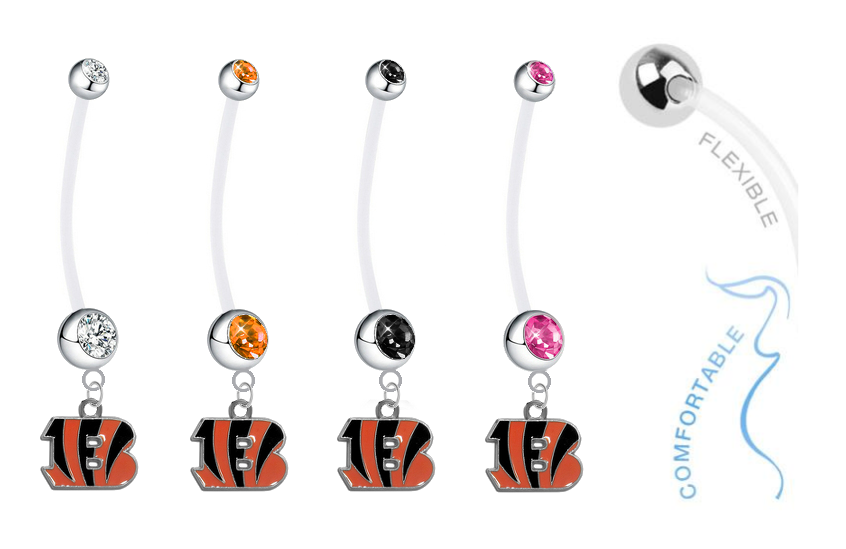 Cincinnati Bengals Pregnancy Maternity Belly Button Navel Ring - Pick Your Color