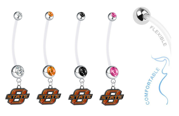 Oklahoma State Cowboys Pregnancy Maternity Belly Button Navel Ring - Pick Your Color