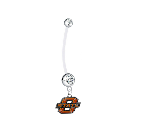 Oklahoma State Cowboys Pregnancy Maternity Clear Belly Button Navel Ring - Pick Your Color