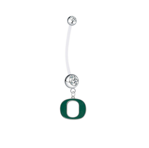 Oregon Ducks Pregnancy Maternity Clear Belly Button Navel Ring - Pick Your Color