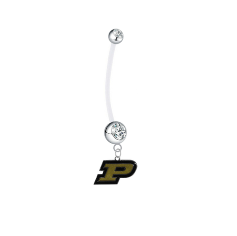 Purdue Boilermakers Pregnancy Maternity Clear Belly Button Navel Ring - Pick Your Color