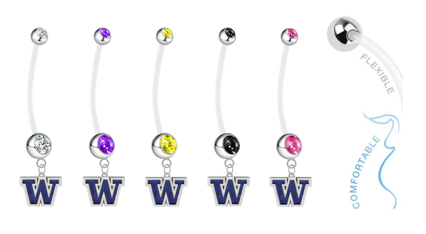 Washington Huskies Pregnancy Maternity Belly Button Navel Ring - Pick Your Color