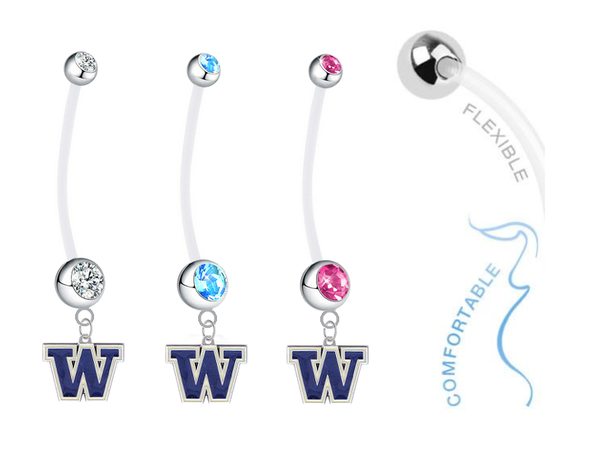Washington Huskies Boy/Girl Pregnancy Maternity Belly Button Navel Ring