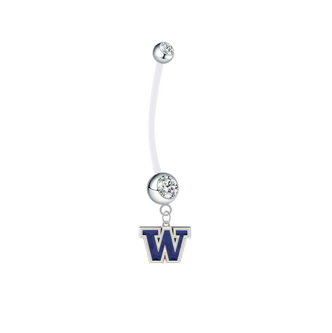 Washington Huskies Pregnancy Maternity Clear Belly Button Navel Ring - Pick Your Color