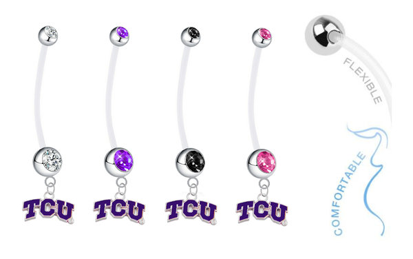 TCU Horned Frogs Pregnancy Maternity Belly Button Navel Ring - Pick Your Color