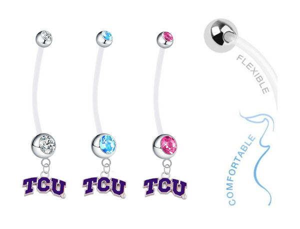 TCU Horned Frogs Boy/Girl Pregnancy Maternity Belly Button Navel Ring