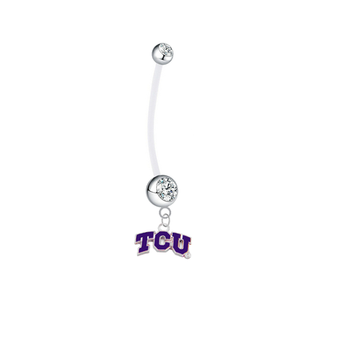 TCU Horned Frogs Pregnancy Maternity Clear Belly Button Navel Ring - Pick Your Color