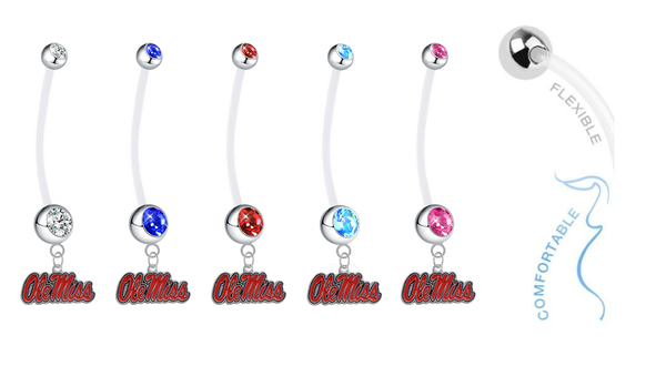 Ole Miss Mississippi Rebels Pregnancy Maternity Belly Button Navel Ring - Pick Your Color