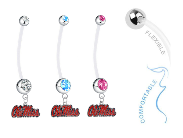 Ole Miss Mississippi Rebels Boy/Girl Pregnancy Maternity Belly Button Navel Ring
