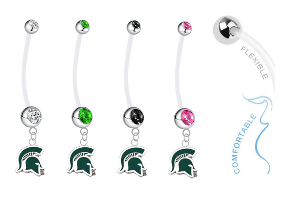 Michigan State Spartans Mascot Pregnancy Maternity Belly Button Navel Ring - Pick Your Color