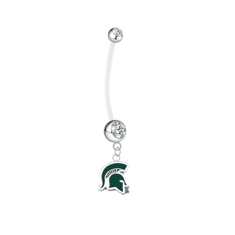 Michigan State Spartans Mascot Pregnancy Maternity Clear Belly Button Navel Ring - Pick Your Color