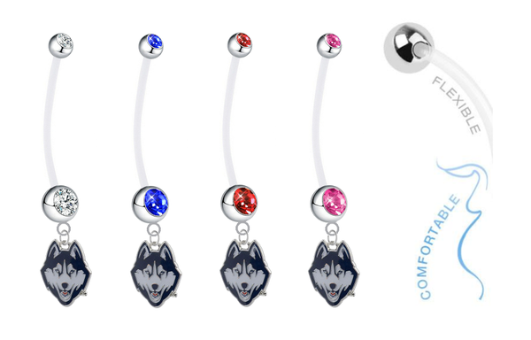 UConn Connecticut Huskies Pregnancy Maternity Belly Button Navel Ring - Pick Your Color