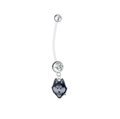 UConn Connecticut Huskies Pregnancy Maternity Clear Belly Button Navel Ring - Pick Your Color