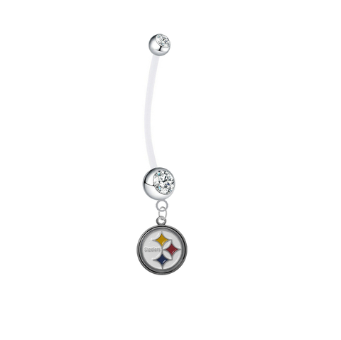 Pittsburgh Steelers Pregnancy Maternity Clear Belly Button Navel Ring - Pick Your Color