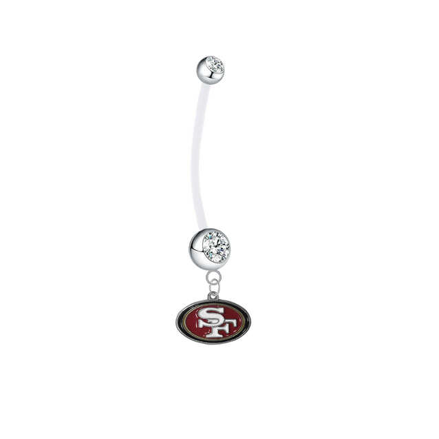 San Francisco 49ers Pregnancy Maternity Clear Belly Button Navel Ring - Pick Your Color