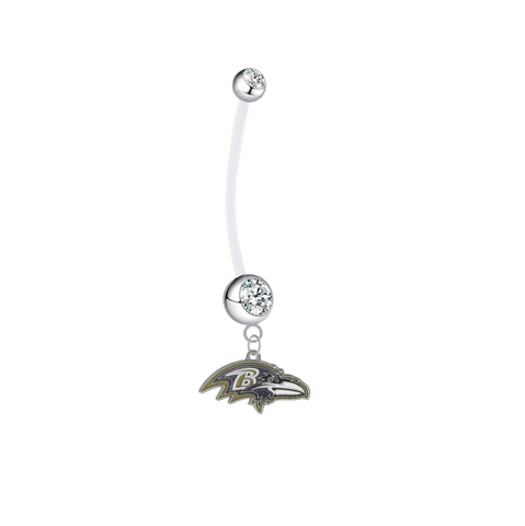 Baltimore Ravens Pregnancy Maternity Clear Belly Button Navel Ring - Pick Your Color