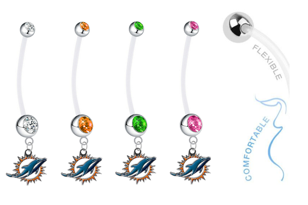 Miami Dolphins Pregnancy Maternity Belly Button Navel Ring - Pick Your Color