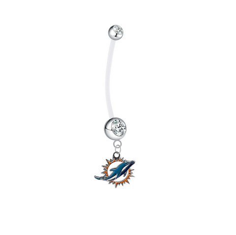 Miami Dolphins Pregnancy Maternity Clear Belly Button Navel Ring - Pick Your Color