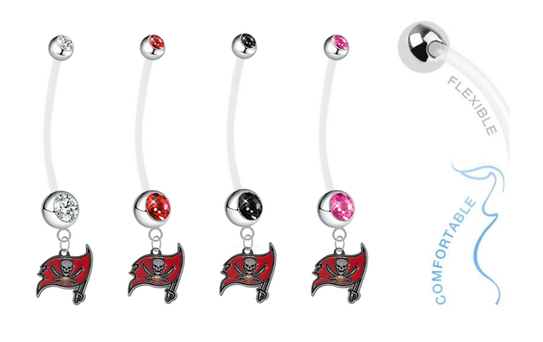 Tampa Bay Buccaneers Pregnancy Maternity Belly Button Navel Ring - Pick Your Color