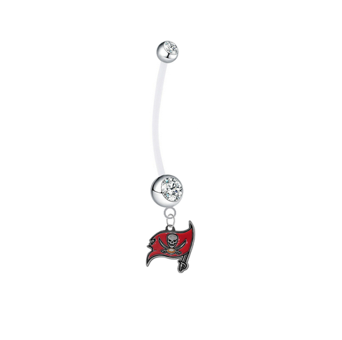 Tampa Bay Buccaneers Pregnancy Maternity Clear Belly Button Navel Ring - Pick Your Color