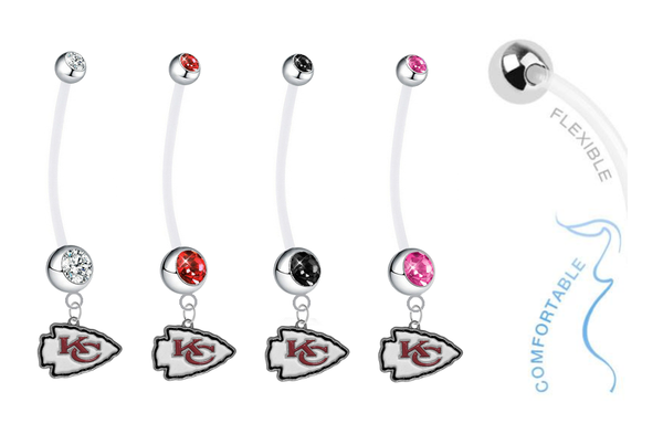 Kansas City Chiefs Pregnancy Maternity Belly Button Navel Ring - Pick Your Color