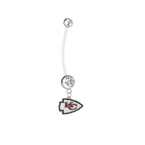 Kansas City Chiefs Pregnancy Clear Maternity Belly Button Navel Ring - Pick Your Color