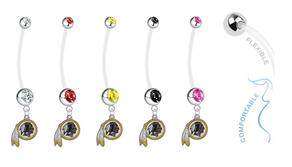 Washington Redskins Pregnancy Maternity Belly Button Navel Ring - Pick Your Color